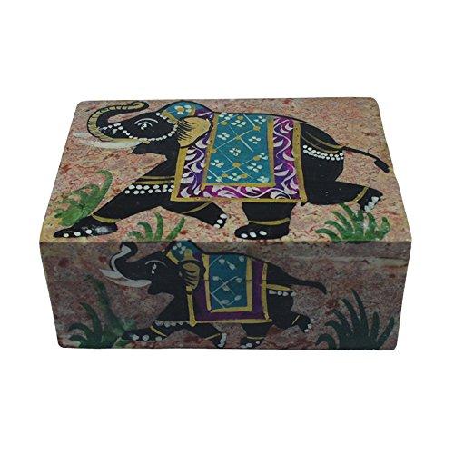 Royal Kurta Royal Handicrafts Handcrafted Soapstone Box With Elephant Painting Work