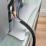 D-Line CZ252.5B flexibler Kabelkanal für den Schreibtisch | Optimale Kabelordnung mit dem Kabelschutzschlauch | Länge 2,5 m, Durchmesser 25 mm - Schwarz