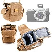 Etui avec bandoulière pour Canon PowerShot G9 X Mark II, Fujifilm XP120, Panasonic GF9 / Lumix DC-GX850 / G DC-GX800/GX850 appareils photo - style vintage beige/sable - DURAGADGET