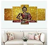 GTomorrow Leinwand Bilder 150X80Cm (A) Buddha-Malerei-Goldpsychedelisch Fertig Aufgespannt,Vlies Leinwand, 5 Teilig,Wand Bild, Kunstdrucke, Wandbild