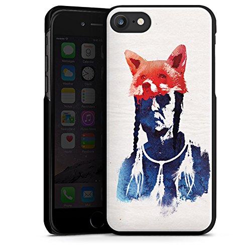 Apple iPhone X Silikon Hülle Case Schutzhülle Fuchs Bunt Art Hard Case schwarz