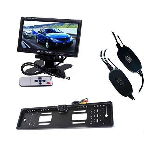 LARS360 Nummernschild Kamera Auto Fahrzeug Rückfahrkamera Backup Kamera 4 LED Nachtsicht mit 7 inch TFT Farb LCD Monitor Einparkhilfen Rückfahrkamera Lcd-composite-video