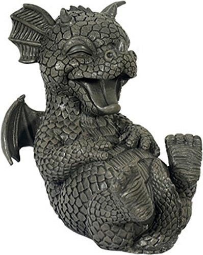 Statue de dragon kringelt, rire statuette de jardin