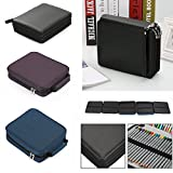 OGORI PU Leather 120 Inserting Super Large Capacity Multi-layer Students Pencil Wrap Case Colored Pencil Bag Pencil Pouch Pencil Holder Stationery Make up Cosmetic Case Bag(no pencils)(black-120pcs)