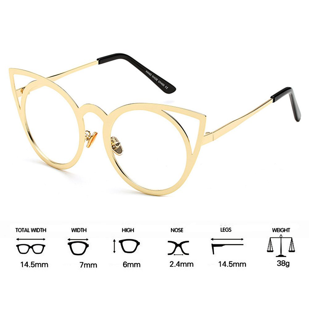MEIHAOWEI Femme Vintage Cat Eye Sunglasses Metal Frames Mirror Shades Color 7