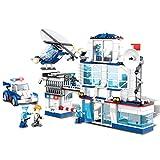 YeoMark 624pcs City Police Station Set | Kit de construcción de Coche de la Patrulla de policía y helicóptero con 6 Figuras Juguetes de construcción para niños de 7 a 14 años de Edad