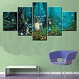 QJXX Leinwanddrucke Wandkunst Poster 5 Panel Wand-Dekor Miyazaki Hayao Totoro Gemälde Wohnkultur Bilder (Kein Rahmen)