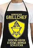 Soreso Design Schürze + Geschenk Karte :+: Boarischer Grillchef - Grillschürze für Männer Lustig Farbe: Schwarz