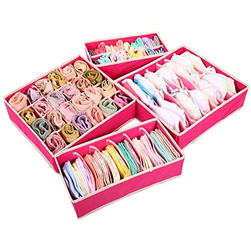 Set 4Faltbare Bin, Aufbewahrungsbox für Aufbewahrungsbox BH, Socken und Schals, Closet Unterwäsche Organizer Schublade Trennwand hot pink (Schubladen Kunststoff-speicher-cubes)