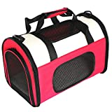 Petsfit Fabric Large Pet Carrier for Dog and Cat, Cat Carrier,Rose Red, 50cm