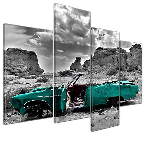 bilderdepot24-leinwandbild-cadillac-turkis-120x80-cm-4-teilig-fertig-gerahmt-direkt-vom-hersteller
