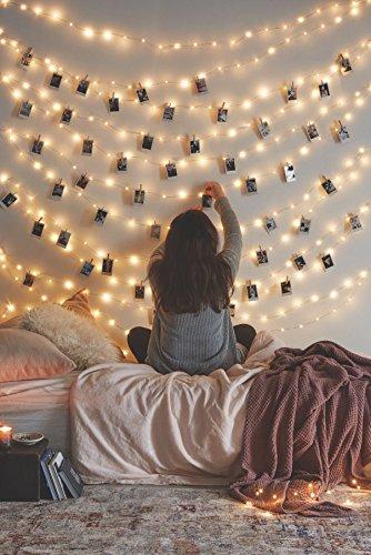 Wasserdichte Kupferdraht Starry String Fairy Lights USB Powered Hanging LED Dekor für Schlafzimmer Indoor Outdoor 33Ft 100 LEDs/66 ft 200LEDs Warm White Ambiance Beleuchtung für Patio Hochzeit Weihnachten Dekor (20M 200LEDs Warmes Weiß(1 Satz))