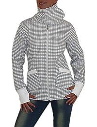 S&LU absolut angesagte Damen Karo Kragen Jacke mit Daumenlöchern in vielen verschiedenen Größen und Farben