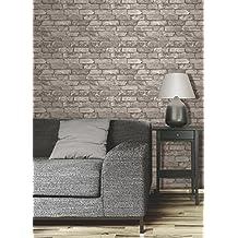 Brewster - Papel pintado, diseño de ladrillos grises, color gris-plateado