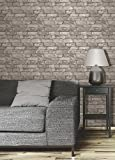Brewster FD31286 Rustic Brick Wallpaper, Grey