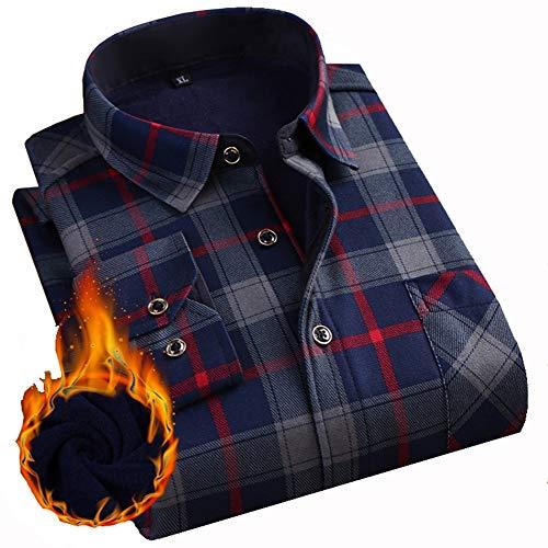 Ghhyu eryt camicia casual da uomo - manica lunga rovesciata, abbigliamento da lavoro in morbido pile invernale, boscaiolo caldo da uomo in cotone, 3, 3xl