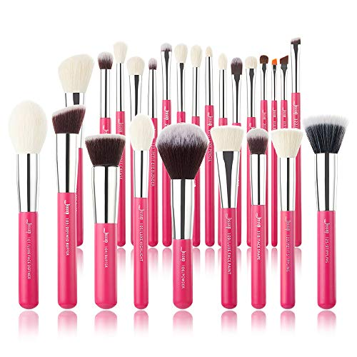 Professionelle Make-up-Pinsel von Jessup, Beauty, Kosmetik, Foundation, Puder, Blush, Wimpern, Lippenstift, 25 Stück - Rosa Mineral Lippenstift