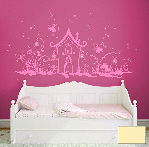 'Graz Design Sticker mural Pays magique elfe avec elfes et fées, fleurs Nains, motif chouettes, lumineux, Lanternes et bien plus encore m1239 Sélectionnée - Couleur :, ivoire, XXL_200cmx100cm
