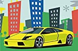 kühlen Auto-Malen nach Zahlen-Sets für Kinder Ölgemälde Kunst Bilder auf der Leinwand für Wohnzimmer oder an der Wand 8x12 Zoll(Eingerahmt)