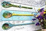 JaGrö bemalte Holzlöffel für Aufhängungen, Schlüssel, Kräuter, Tücher, Kellen
