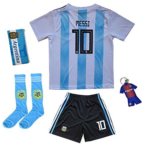 Sheki New Argentinien #10 Messi Heim Kinder Fußball Trikot Hose und Socken Kindergrößen (24 (7-8 Jahre))