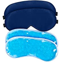 Sleep Mask/Eye Mask for Sleeping Women & Men with Gel Pad, WEYN 2 Packs Sleeping Eye Mask, Hot & Cold Therapy for Insomnia Puffy Eyes & Dark Circles, Upgraded Silky Cooling Eye Mask With Adjustable Strap Navy Blue Gel Eye Mask