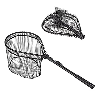 Lixada Fly Fishing Triangle Brail Landing Net Portable Foldable Lightweight Net Nylon Fishing Net Aluminum Alloy Frame by Lixada