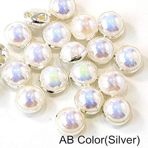 Penveat 100 pezzi perline colorate pearl cucitura per cucire strass con argento/oro claw natator mezzotondo pearl per le navi abbigliamento b3120, bianco ab argento artiglio 8 mm - 100pcs