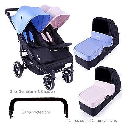 Baby Monsters-Silla Gemelar Easy Twin 3.0.S + 2 Capazos duros + Barra Protectora de Regalo + Regalo de un Bolso Organizador