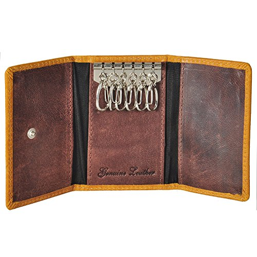 AzraJamil Texas Finished Genuine Leather Key Ring Case Wallet