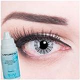 Farbige Kontaktlinsen Spider weiss + 60ml Pflegemittel + Behälter - Funnylens Markenqualität, 1Paar (2 Stück) farbige lenses perfekt zu Halloween, Karneval, Fasching oder Fastnacht