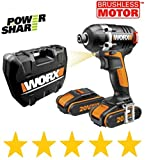 Worx CORDLESS Impact driver 20V X1 lithium battery, Charger & 100 piece Impact set