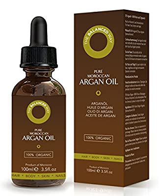 Pure Moroccan Argan Oil for Hair, Body, Skin, Beard, Nails - Large 100ml Bottle - Certified Organic, Cold Pressed, Grade 1, Unroasted, Extra Virgin - Ultra Hydrating Treatment with Rich Anti-Oxidants by The Balanced Way