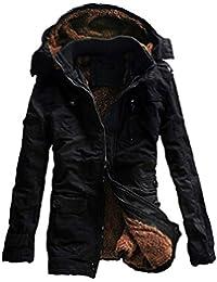 GWELL Herren Wintermantel mit Fleecefutter Baumwolle Abnehmbare Kapuze  Mantel Steppmantel Übergangsmantel Lässig Große Größen d77ee87ce0