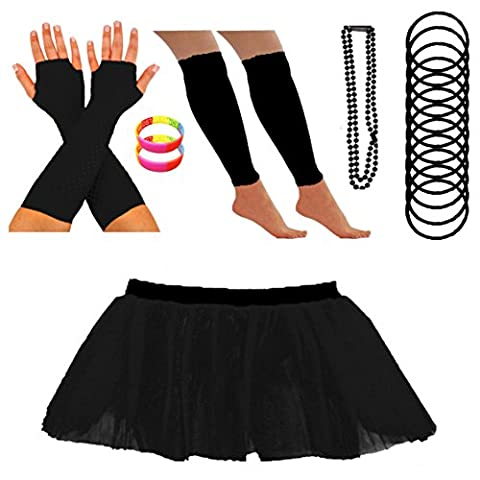 REDSTAR FANCY DRESS Neon Tutu Skirt Leg Warmers Fishnet Gloves Necklace Beads Gummy Bracelets and Neon Wrist Beads (8-12 UK, Black)