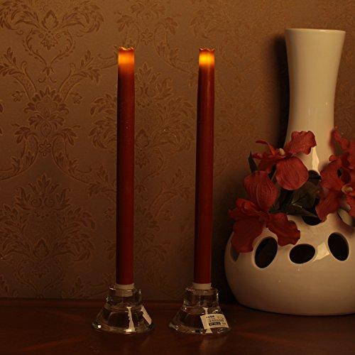 Geben U Stabkerzen LED Spitzkerzen mit Timer Led Flammenlos Kerzen Echtwachs, 30,5 cm, rot, 2 Stück, Hauptdekoration für Weihnachten Hochzeit Valentinstag - 4