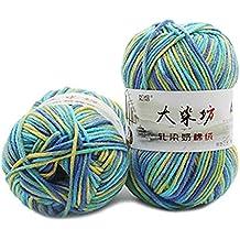 KunmniZ - Lana de algodón suave para tejer bebé, bufanda, ganchillo, zapato,