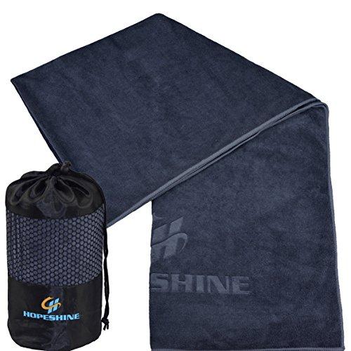 HOPESHINE Yoga Handtuch Rutschfest Microfaser Yogahandtücher für die Yogamatten 183 X 61cm (Grau-grau Rand, 183 X 61cm)