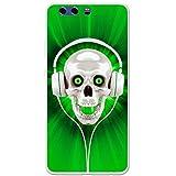 Schädel mit Kopfhörern Grün Hartschalenhülle Telefonhülle zum Aufstecken für Huawei P10 Plus
