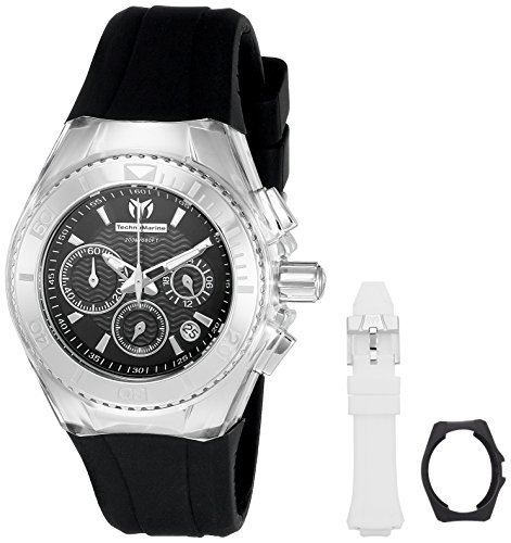 technomarine-womens-quartz-watch-with-black-dial-chronograph-display-and-white-silicone-strap-tm-115