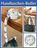 Wenko Handbag Butler, Taschenhalter, Handtaschenhalter, Taschenaufhänger, Bag butler mit Uhr + Samtsäckchen