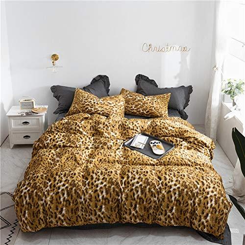 TIANQIZ Leopardenmuster Bettwäsche Tröster Set mit 100% Baumwolle Light Bettbezug Set mit Kissenbezug Mikrofaser Bettwäsche Quilt Bettwäsche Queen-Set -