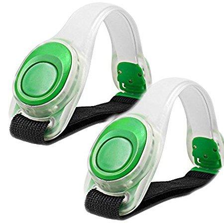 Brazalete brillante ligero de 2pcs / pack KEKU LED, engranaje corriente reflexivo del silicón, resplandor de la pulsera del LED en la obscuridad - Venda de la palmada de la seguridad para el ciclo Runing, moviendo la alta visibilidad. (Verde)