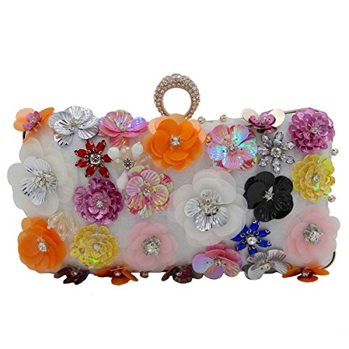 Frauen-Blumen-Abendbeutel-Brautbeutel-High-End-Handtasche White