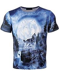 ce54be173556 ALIKEEY Drôle Garçons Hommes 3D Loup Imprimé Été À Manches Courtes T-Shirts  Top Tee Blouse Homme Snow Mountain Group Wolf T-Shirt…