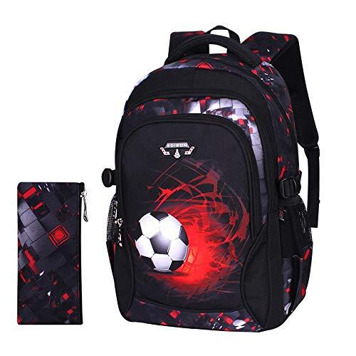 Superhelden Für Jugendliche Kostüm - TYYM Backpack Kinderrucksack 3D Fußball Gedruckt 2 Stück Set, Kinder Schulrucksack + Federmäppchen Für Jungen 18 inch