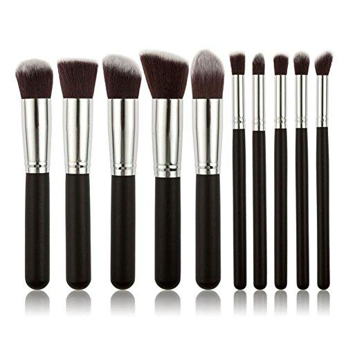 Sayue 10Pcs Kit de Pinceaux de Maquillage Set de Cosmétique Professionnel, Noir argent