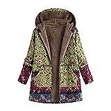 iHENGH Vorweihnachtliche Karnevalsaktion Damen Winter Warm Dicker Outwear Parka Mantel Jacke Blumendruck mit Kapuze Taschen Vintage Oversize Coats (Grün,EU-46/CN-L)