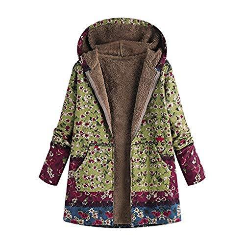 iHENGH Vorweihnachtliche Karnevalsaktion Damen Winter Warm Dicker Outwear  Parka Mantel Jacke Blumendruck mit Kapuze Taschen Vintage Oversize Coats  (Grün ... 9c2e4009a9