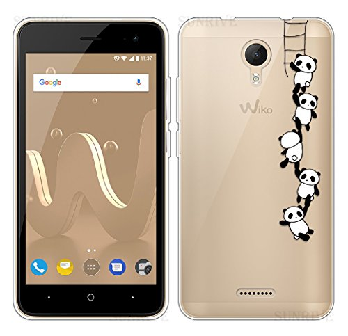 Sunrive Für Wiko Jerry 2 Hülle Silikon, Transparent Handyhülle Schutzhülle Etui Case Backcover für Wiko Jerry 2(TPU Panda 1)+Gratis Universal Eingabestift